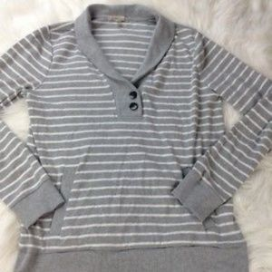 Banana Republic Gray White Striped Sweater